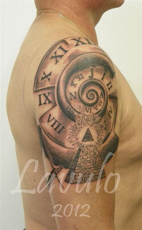 pyramid clock tattoo 27 fantastic pyramid tattoos on sleeve