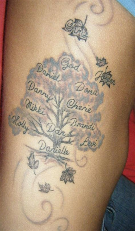 side tattoo family tree leaves many names