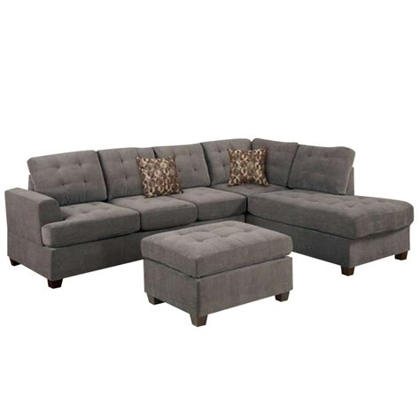 suede sectional sofa poundex bobkona prissy suede sectional sofa with ottoman in charcoal f7137 f7119 pkg