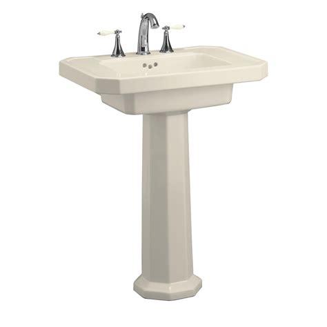Kohler Pedestal Sink Shop Kohler Kathryn 35 In H Almond Clay Complete