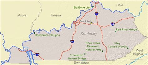 map kentucky park national landmarks by state national