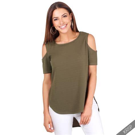 Shoulder Plain T Shirt womens cut out cold shoulder plain t shirt