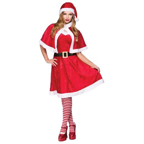 ladies womens velour miss santa mother christmas fancy
