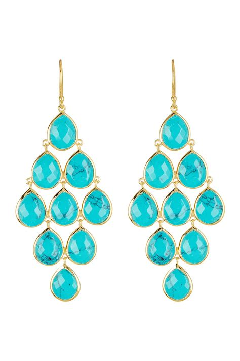 Turquoise Chandelier Earrings Argento Vivo 18k Gold Plated Sterling Silver Turquoise