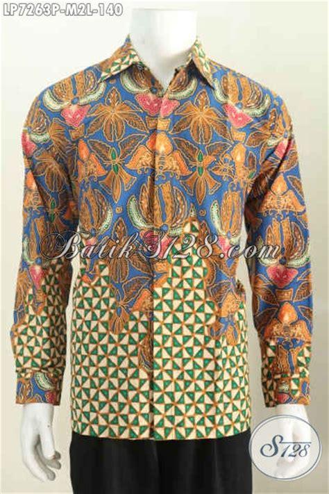 Kemeja Batik Kawung Grompol Printing Lengan Panjang kemeja lengan panjang elegan tidak pakai furing baju batik jawa proses printing bisa buat kerja