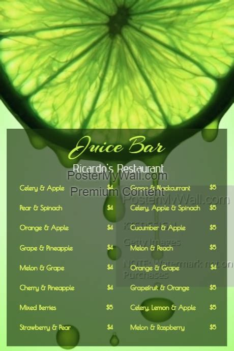 juice menu card templates fresh juice smoothie bar menu template postermywall