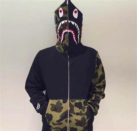 Bape Shark Fullzip Hoodie half camo pocket zip bape shark hoodie dopestudent