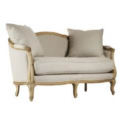 French Country Settee Rue Du Bac French Country Natural Linen Feather Settee