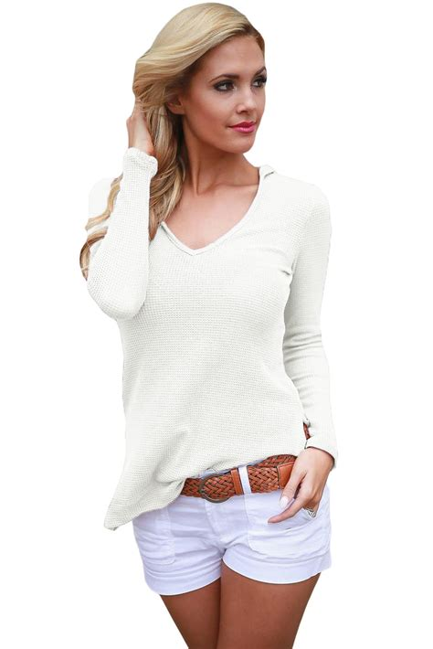 Sleeve Hooded Knit Top white sleeve knit hooded top for