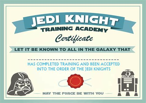 wars jedi certificate template free may the 4th be with you wars ideas