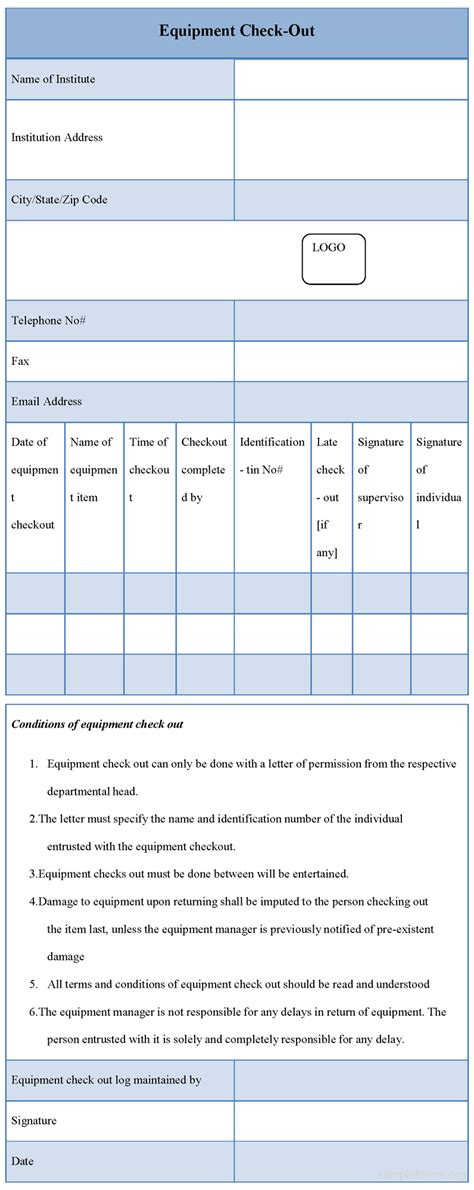 Equipment Checkout Form Sle Forms Equipment Checkout List Template