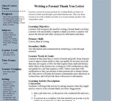 Thank You Letter Lesson Plan thank you letter esl worksheet teaching