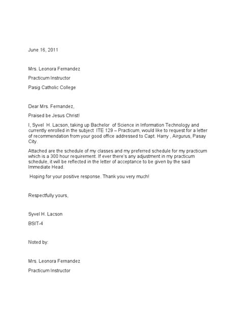 Endorsement Letter For Transfer Of Work Ojt Request Letter 2003