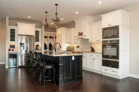 maple glazed kitchen cabinets with black painted island maple painted off white black schmidt custom cabinetry