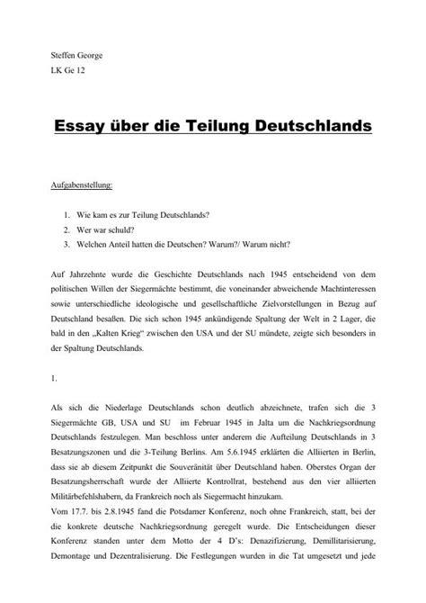 Enzensberger Essay Europa by Essay 252 Ber Die Teilung Deutschlands Hausarbeiten Publizieren