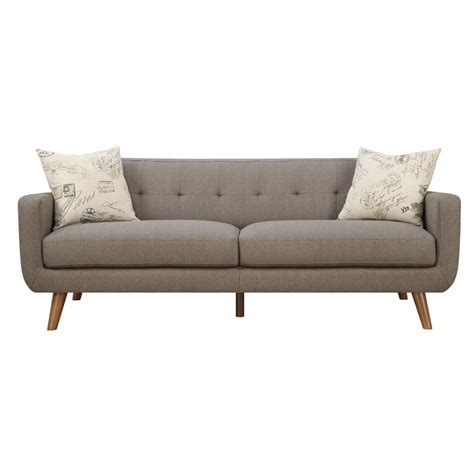 modern sofa latitude run mid century modern sofa with accent pillows