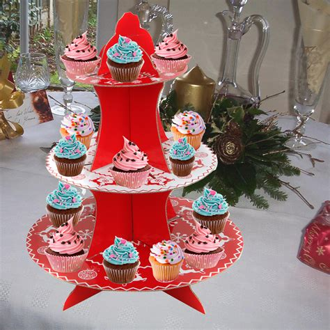 3 tier christmas holiday cupcake fairy muffin party
