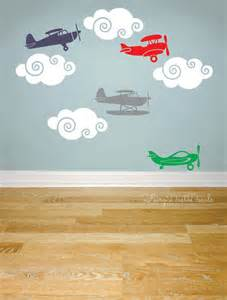 airplane wall stickers airplane wall decals set of 8 with clouds kids by