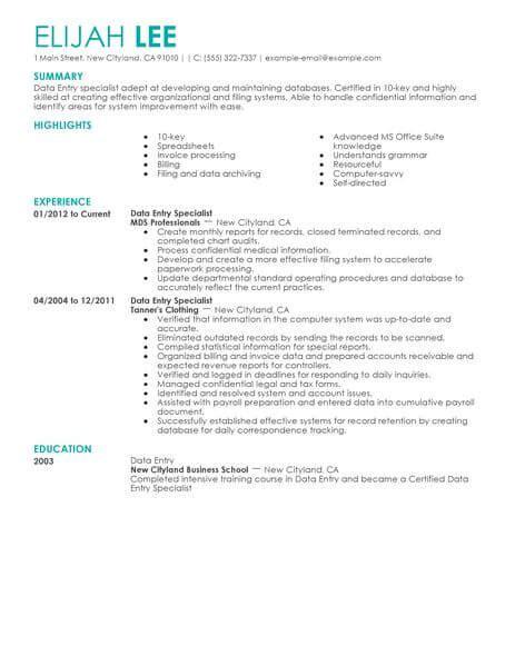 5 data entry resume templates pdf doc free premium templates
