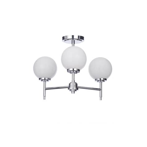 Chrome And Opal Glass Flush Fitting Bathroom Ceiling Light Ip44 Forum Lighting Porto 3 Light Semi Flush Bathroom Ceiling Fitting In Polished Chrome Finish With