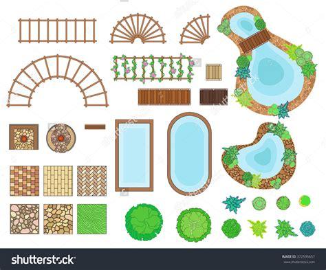 landscape design elements vector illustration landscaping symbols clip art 88