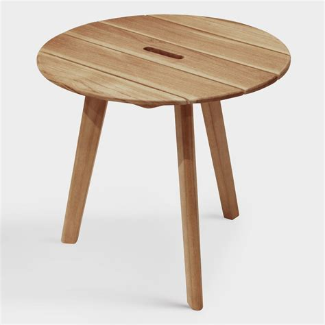 round accent tables wood round teak wood hakui accent table world market