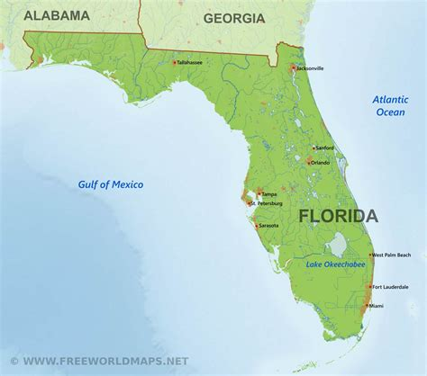 florida on the map physical map of florida