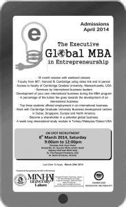 Mba In Lahore by The Executive Global Mba Offered By Minhaj