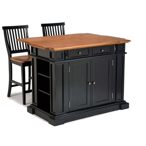kitchen island carts with seating home styles americana black kitchen island with seating 5003 948 the home depot