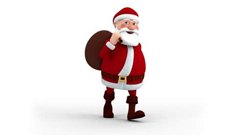cartoon santa claus with gift bag walking on the spot