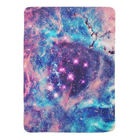 Galaxy Baby Name Blanket by Trendy Pastel Pink Blue Nebula Girly Galaxy Baby