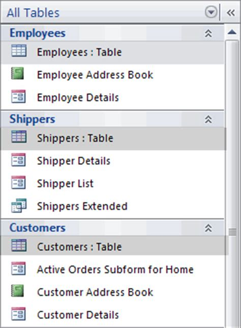 manage database objects in the navigation pane access
