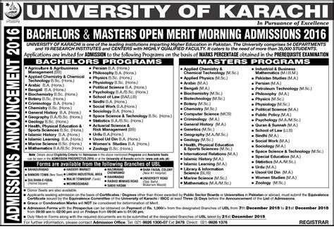 Mba Admission In Karachi 2017 by Of Karachi Admissions 2017
