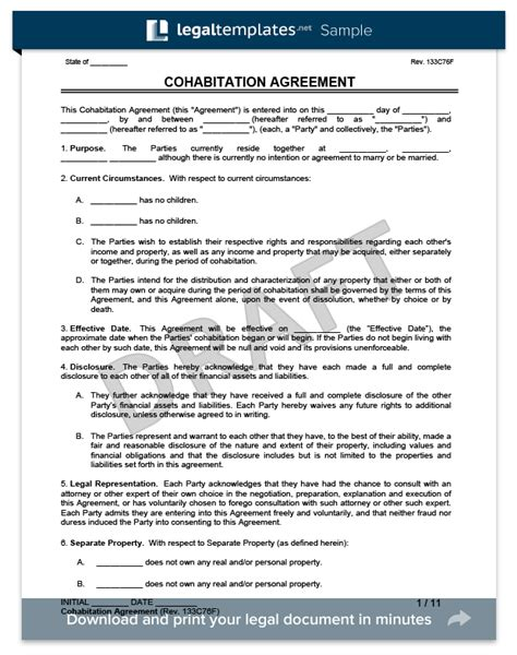 cohabitation agreement template free cohabitation agreement templates