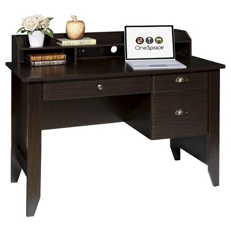 all desk onespace 50 1617 executive desk with hutch and usb charger hub target