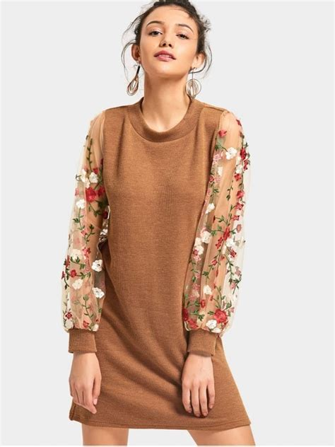 Mesh Panel Knit Dress mesh panel floral mini knitted dress brown sweater