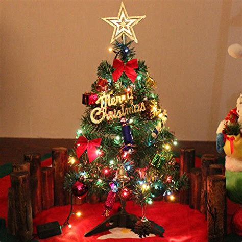 find your joy 24 lighted holiday bow 24 quot miniature pine tree with hanging ornaments green tabletop tree with