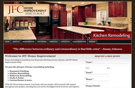 home improvement websites web design portfolio mi