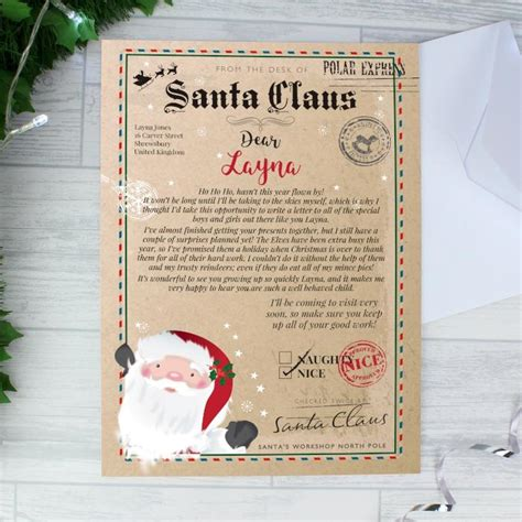 personalised letter from santa charity personalised letter from santa the personalised gift