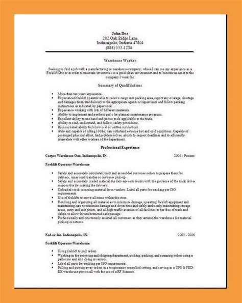 warehouse resume objective sle 9 warehouse resume objective resume pdf