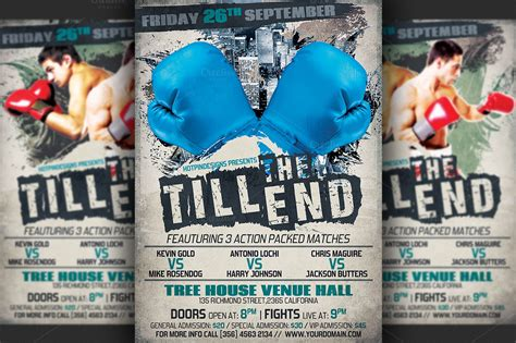 boxing fight card template boxing flyer template flyer templates on creative market