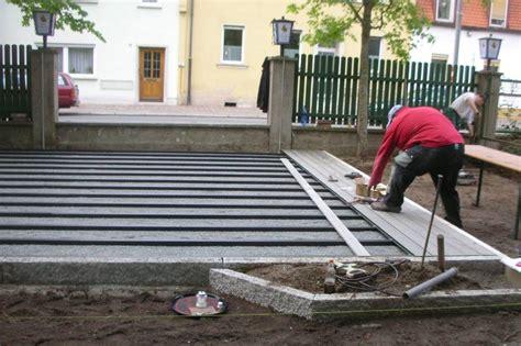 verlegen terrassendielen wpc bauanleitung unterbau einer wpc terrasse verlegen der