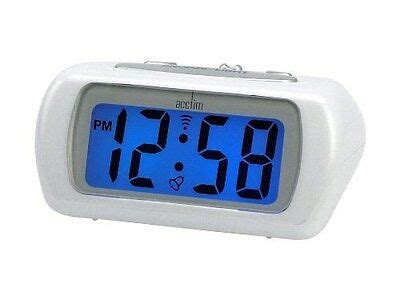 acctim white auric alarm clock blue lcd battery operated digital lighted 692757903637 ebay