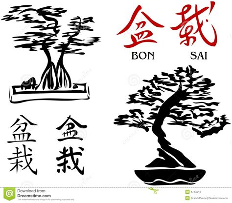 bonsai trees amp kanji characters 2 vector stock photo