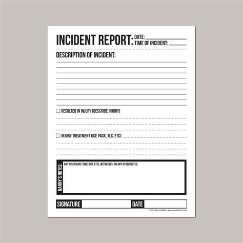Incident Report Exle Childcare incident report for nanny or daycare worker