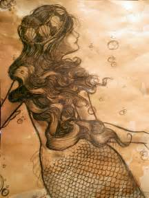 Tea stained mermaid drawing by kara lija on deviantart
