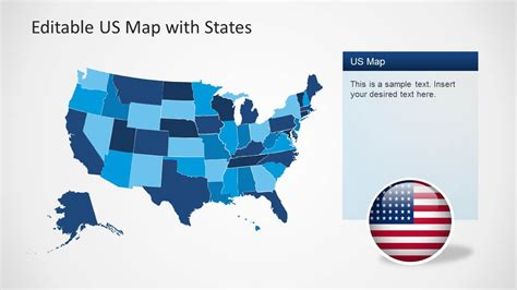Us Map Template For Powerpoint With Editable States Slidemodel Powerpoint Us Map Template Free