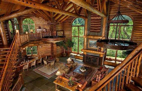 Beautiful Log Home Interiors Cabin Interior Log Homes Pinterest