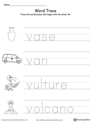 5 Letter Words That Start With V trace words that begin with letter sound v