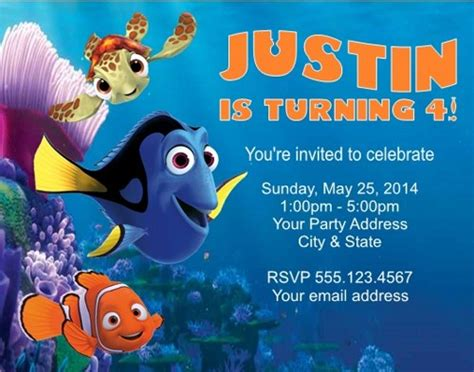 finding nemo dory birthday invitations personalized cutecreationsshoppe on artfire
